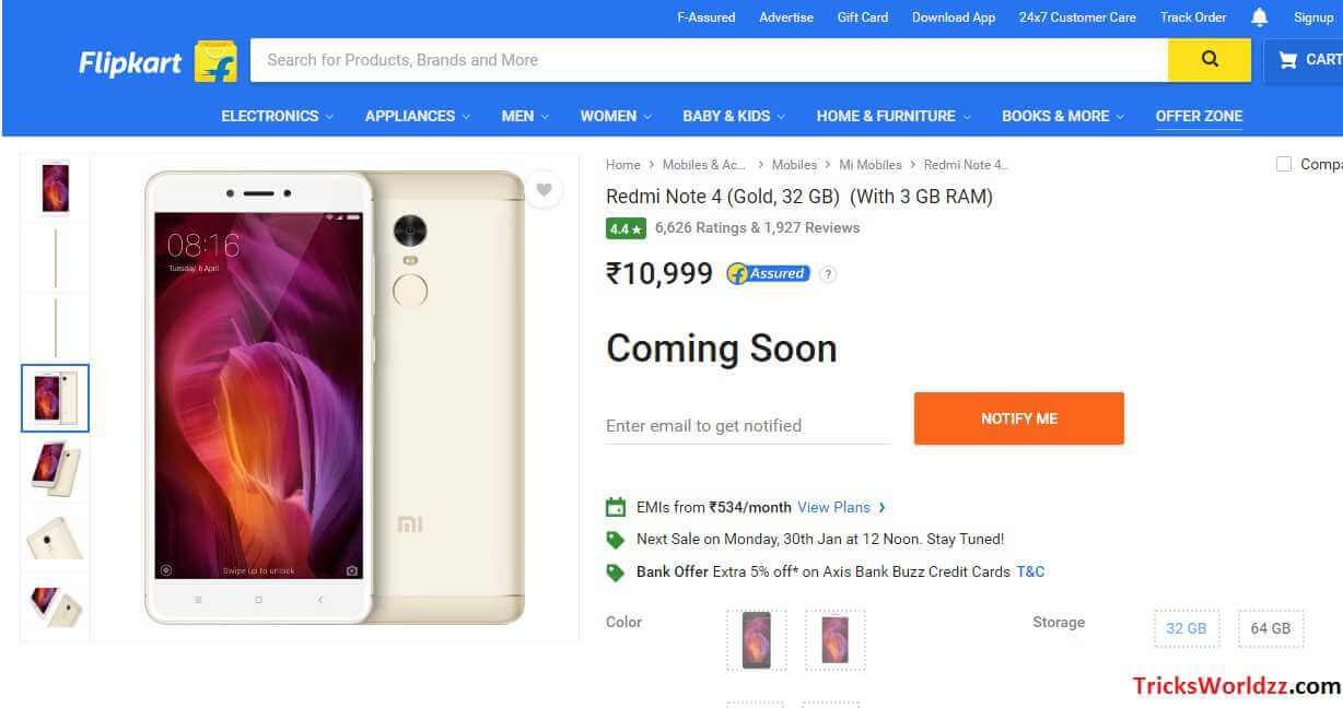 Trick Buy REDMI NOTE 4 on Flash Sale Exclusively on Flipkart