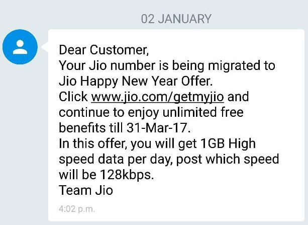Reliance Jio Happy New Year Offer SMS