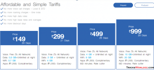 Reliance Jio base tariff and plans