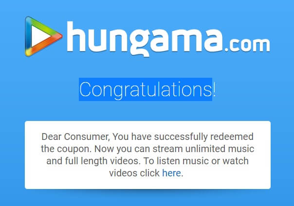 Free Hungama Music Pro Subscription - Registration Successful.