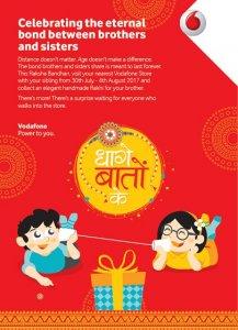 Get Free Rakhi Visit Nearest Vodafone Store