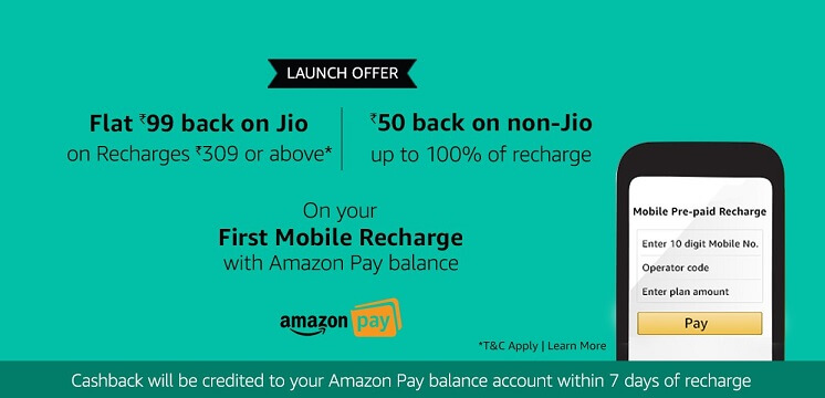 Get Flat Rs. 99 Cashback on Jio Recharge of Rs. 309 & Above - Amazon