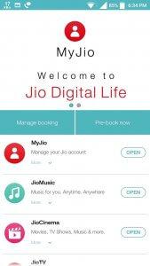 Open MyJio App to Pre-Book