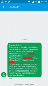 Invoice JioPhone booking via SMS