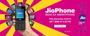 Pre-Book JioPhone India Ka Smartphone at 5:30 PM Today