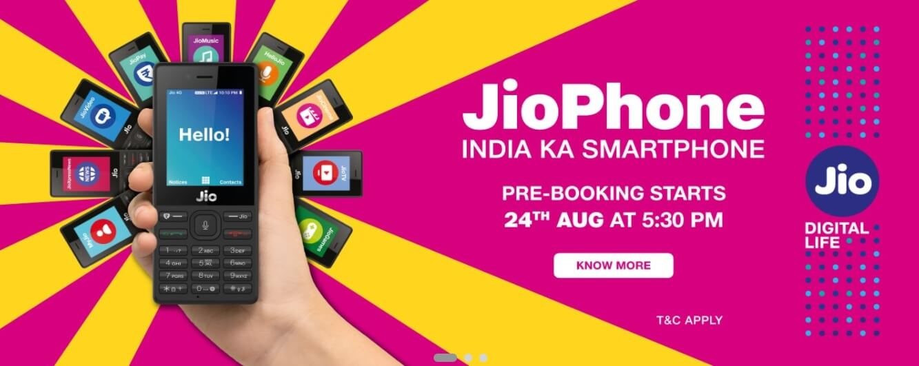 Pre-Book JioPhone India Ka Smartphone at 5:30 PM Today