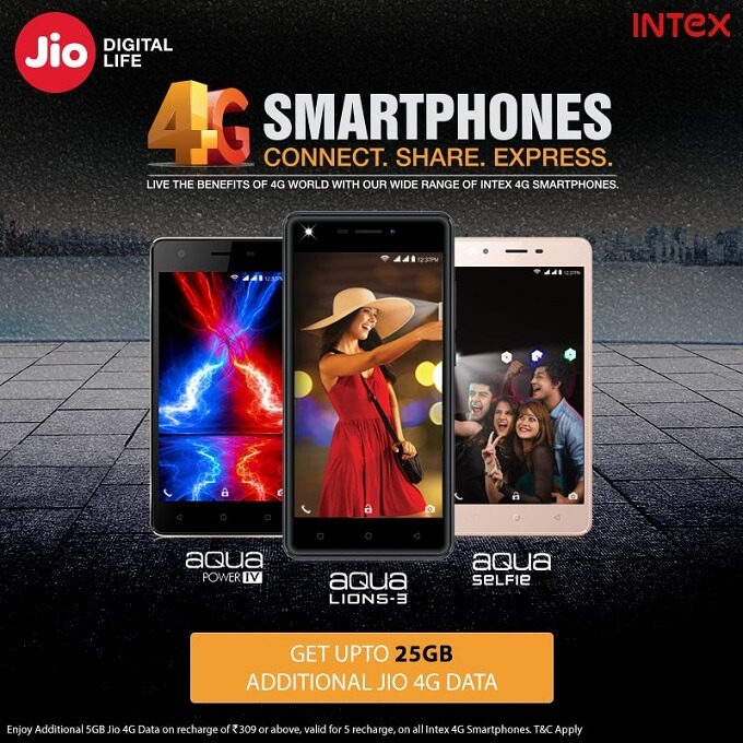Reliance Jio Get 25GB Additional Free Internet Data Intex 4G Smartphone Users