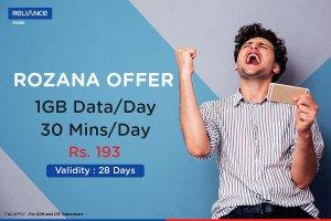 Reliance Rozana Offer Get 1GB Free Internet Data Daily
