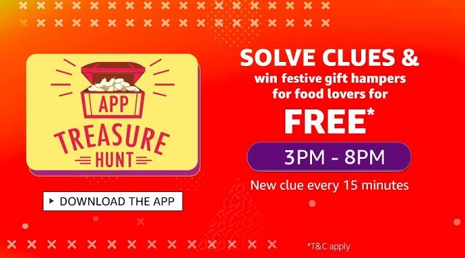 Amazon App Treasure Hunt Solve Clues & Win (3PM-8PM)