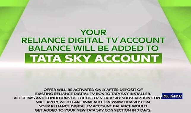 Reliance Digital TV Shutting Down Exchange and Get Free TataSky Set-top box and Installation