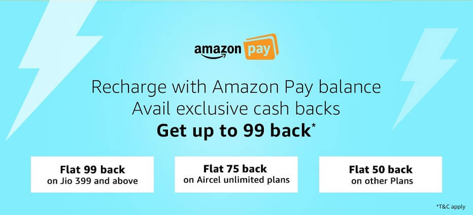Amazon Prepaid Mobile Recharge Offers Get 50% Cashback