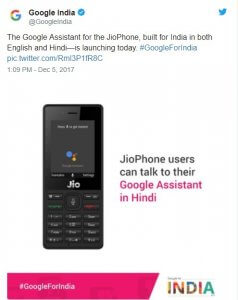 JioPhone Gets Google Assistant Supports English an