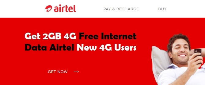 Get 2GB 4G Free Internet Data Airtel New 4G Users