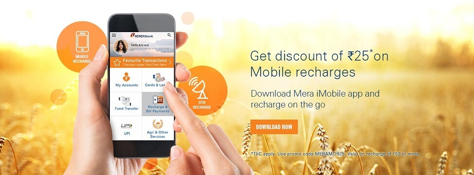 Get Free Rs 25 off at Rs 50 ICICIBank Mera iMobile Offer