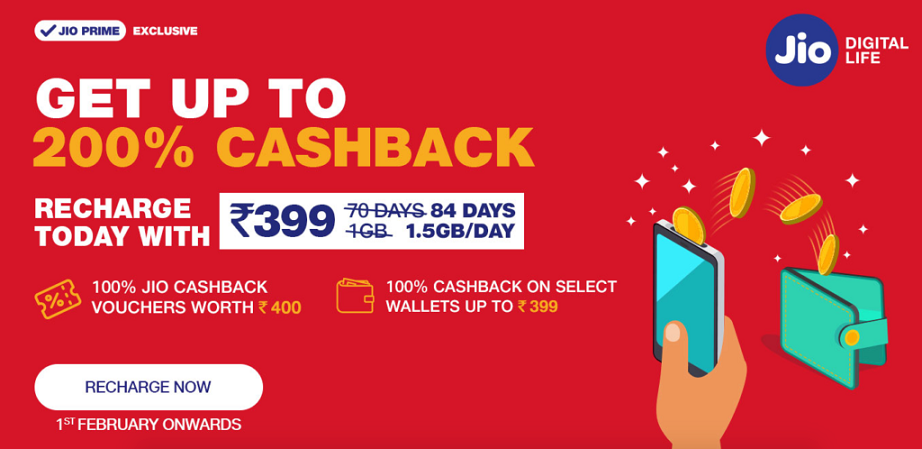 Get 200% Cashback Offer On Rs 399 Recharge Reliance Jio