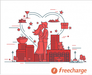 Get Free Rs 12 Cashback covering Rs 10 Recharge Freecharge Valentine's Day.