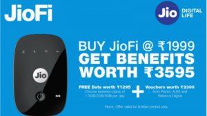 Get 336 GB Free Internet Data Reliance JioFi Rs 1999 Offer