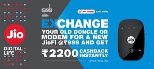 Latest JioFi Device Exchange Offer Get JioFi at Rs 999